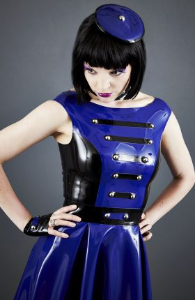 Onna Sakura wears Latex Beret by Inner Sanctum