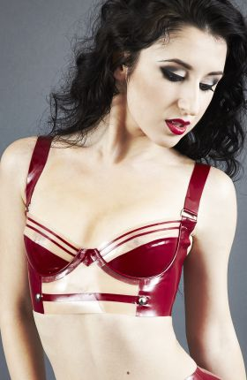 Marilyn Yusuf wears Military Latex Bra by Inner Sanctum