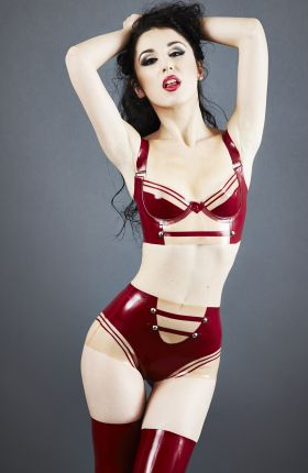 Marilyn Yusuf wears Military Latex Lingerie Set by Inner Sanctum