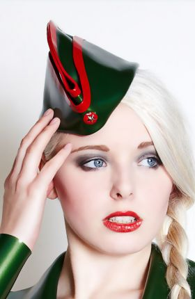 Latex Military Wedge Hat by Inner Sanctum