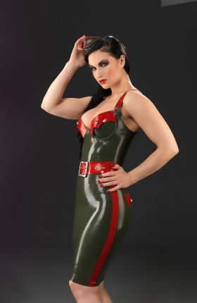 Sister Sinister in Aviator Latex Top by Inner Sanctum